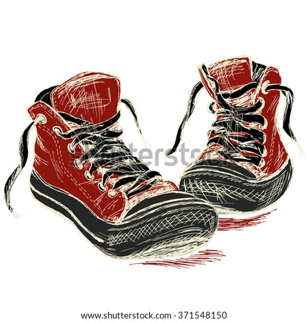 Sneakers isolated on white background, hand drawing, vector illustration - stock vector