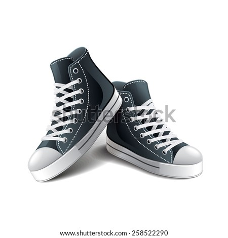 Sneakers isolated on white photo-realistic vector illustration - stock vector