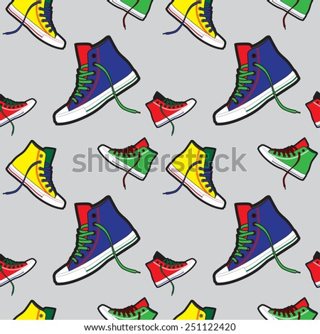 Sneakers pattern on light grey background  - stock vector