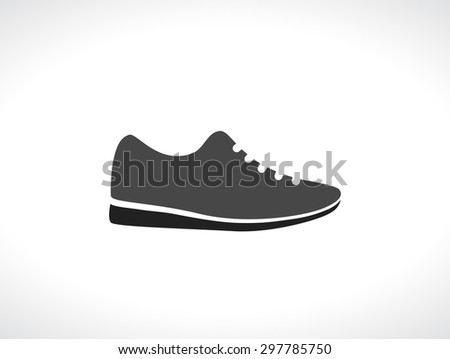 sneakers running shoes black icon - stock vector