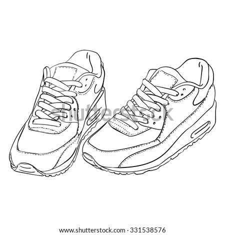 Sneakers Shoes Hand Drawn Black White Stock Vector