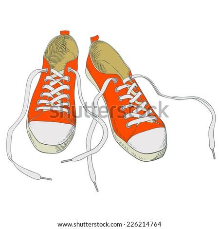 sneakers. sketch - stock vector