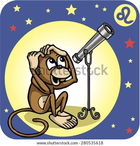Sneaky Monkey Zodiac Sign Leo Telescope Stock Vector 280535618 ...