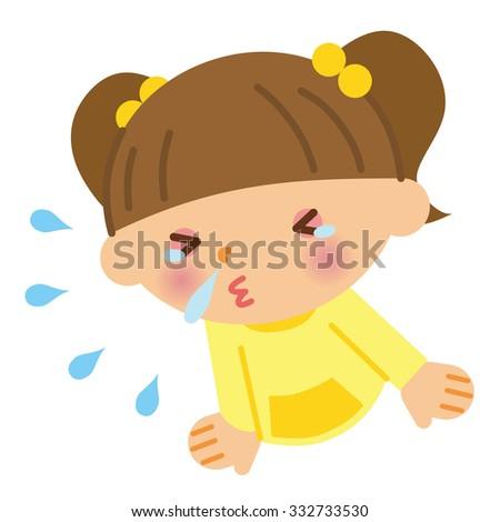 Sneezing child - stock vector