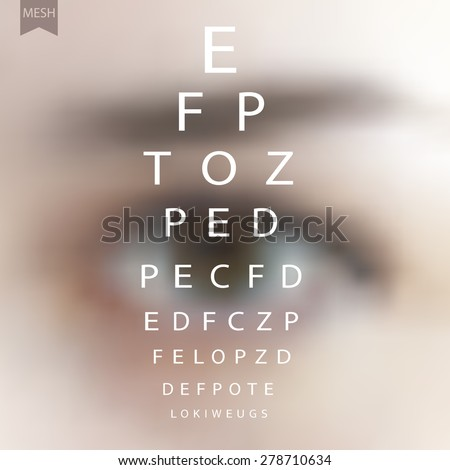 Snellen chart eye test on background of blurred human eye. Human eye. Vector illustration of background for design. Blurred background. Template for poster. EPS 8.