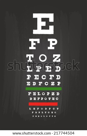 Snellen Eye Chart Check Up Test For Medical Use On Green Blackboard