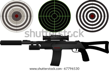 sniper rifle and targets. vector illustration - stock vector