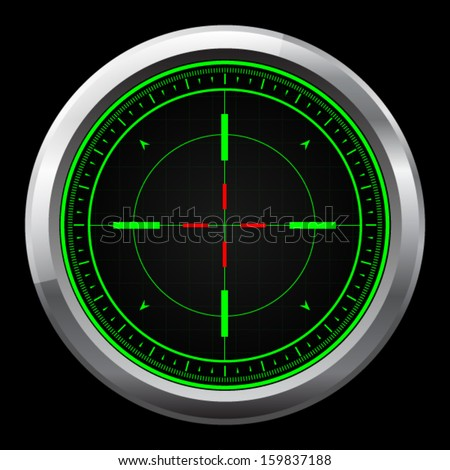 Sniper scope green and red cross hairs - stock vector