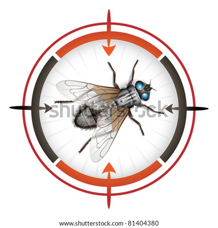 Sniper target with housefly - stock vector