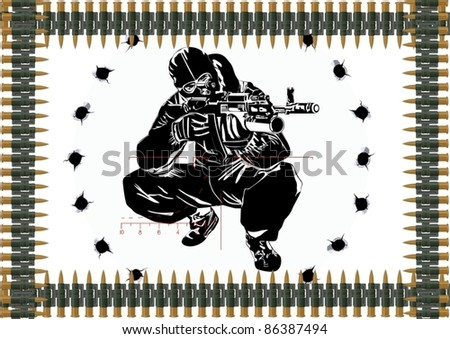 Sniper with automatic weapons against the bullet holes and machine-gun belts. - stock vector