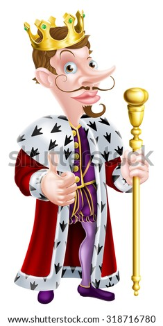 Snooty looking cartoon king character illustration wearing a crown, holding a sceptre and giving a thumbs up - stock vector