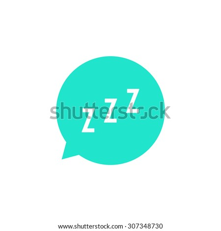 snoring sign in green speech bubble. concept of sleeping, insomnia, alarm clock app, deep sleep, awakening. isolated on white background. flat style trend modern logotype design vector illustration - stock vector