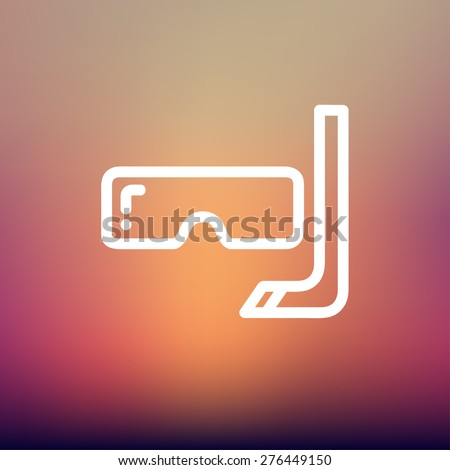 Snorkel and mask for diving icon thin line for web and mobile, modern minimalistic flat design. Vector white icon on gradient mesh background. - stock vector