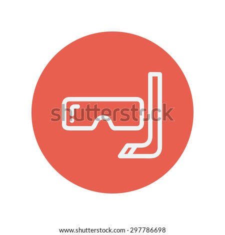 Snorkel and mask for diving thin line icon for web and mobile minimalistic flat design. Vector white icon inside the red circle. - stock vector