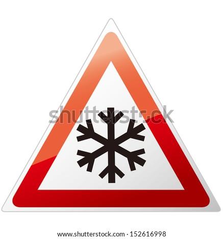 snow ahead warning sign Vector - stock vector