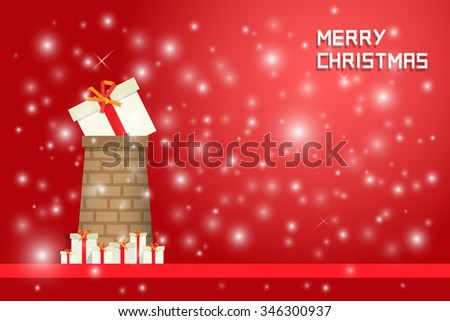 snow and christmas present on  chimney with gift boxes on red backgound