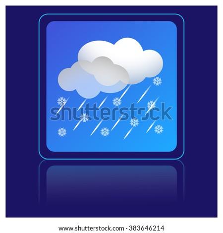 snow and rain, weather icon - stock vector