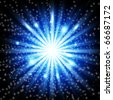 Snow and stars are falling on the background of blue luminous rays. - stock photo
