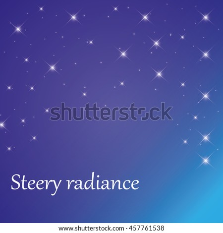 Snow and stars are falling on the background of blue luminous rays. - stock vector
