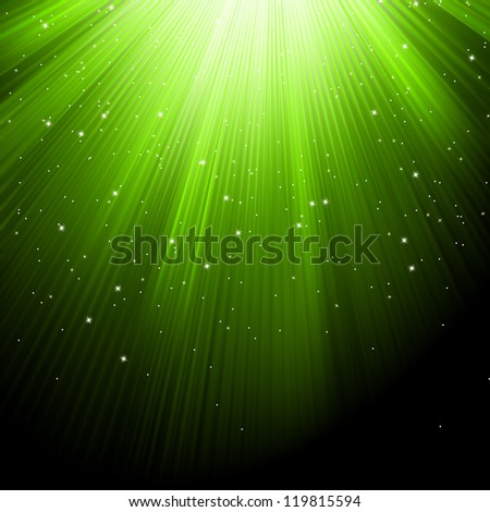 Snow and stars are falling on the background of green luminous rays. EPS 8 vector file included - stock vector