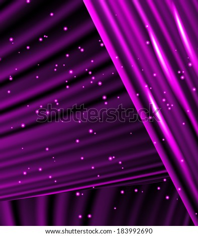 Snow and stars are falling on the background of purple  luminous rays. - stock vector