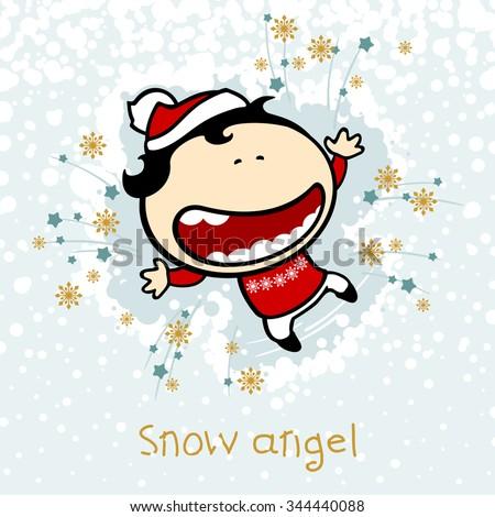 Snow angel - stock vector