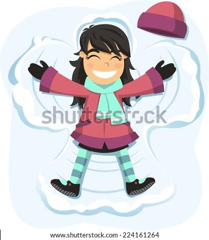 Snow angel happy girl enjoying snowy day - stock vector