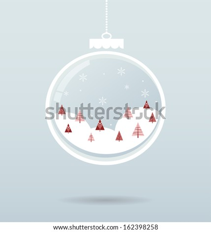 snow ball with snowflakes and trees inside - stock vector