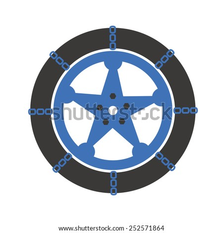 Snow chains car tires - stock vector
