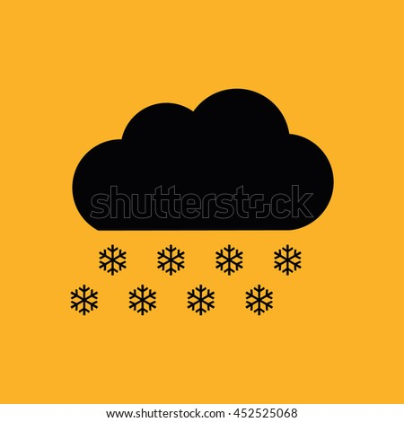 Snow cloud winter icon vector. Yellow background - stock vector