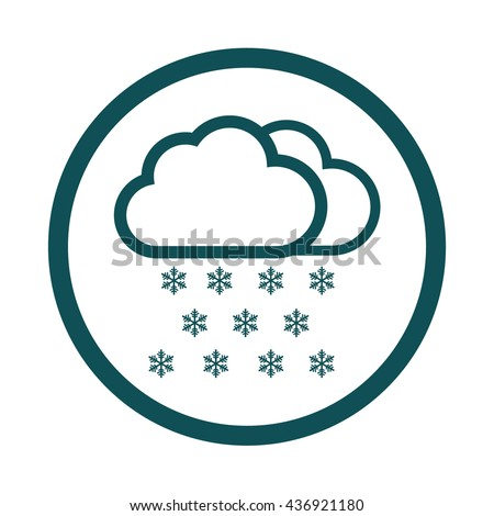 Snow cloud / winter / weather forecast icon / circle / button / vector illustration - stock vector