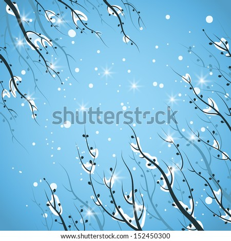 Snow-covered branches. Seasonal background. - stock vector