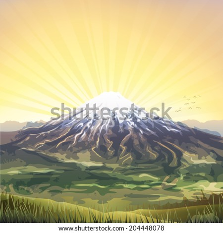 Snow covered mountain peak scenery at sunset   - stock vector