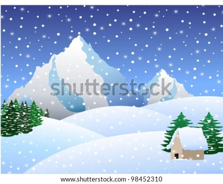 snow day and little house - stock vector