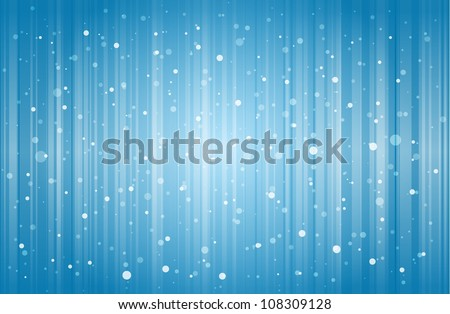 Snow falling and lines dropping on blue winter background. - stock vector
