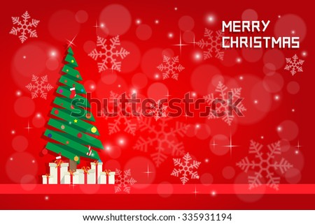 snow flake and chrisms tree with gift boxes on red background