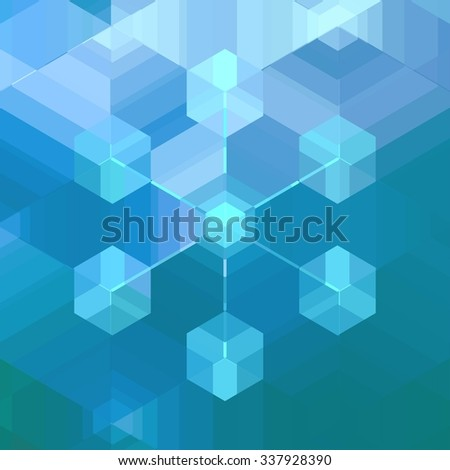 Snow flake shape computer cloud network nodes background. Complex geometric inter connected server cluster. Modern technology pattern design. Christmas card. - stock vector