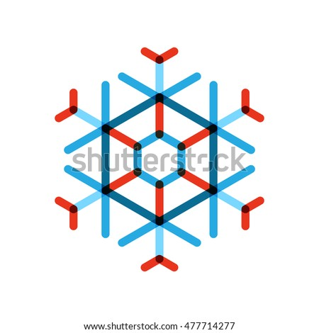 snow flake symbol design, christmas vector illustration