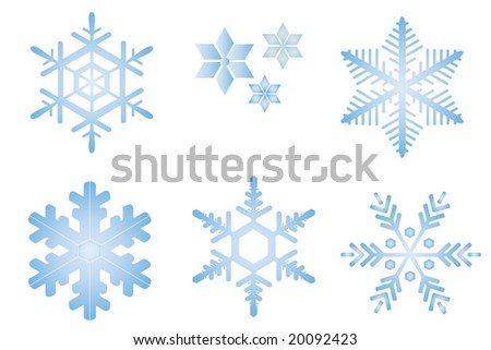 Snow flakes collection on white background