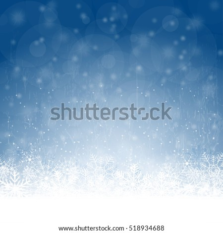 snow flakes on bottom side, abstract fall of snow and blue colored background