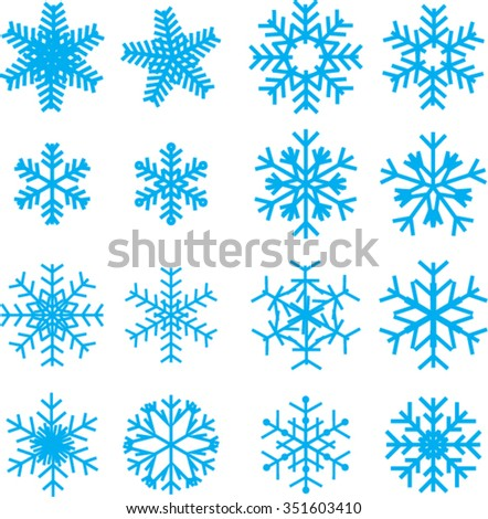 Snow flakes. Set of original stylized snow flakes on the white background. Vector. - stock vector