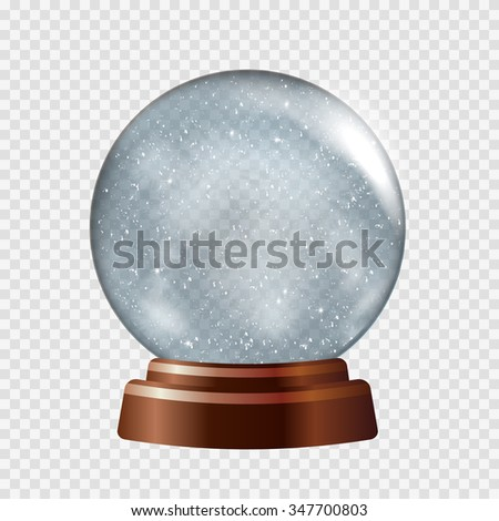 Snow globe. Big white transparent glass sphere on a stand with glares and highlights. Vector illustration contains gradients and effects. Winter christmas background for your design and business.