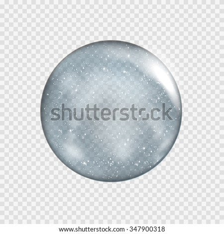 Snow globe. Big white transparent glass sphere with glares and highlights. Vector illustration contains gradients and effects. Winter christmas background for your design and business. - stock vector