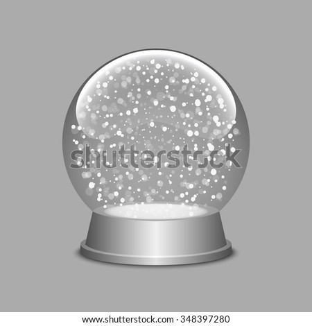 Snow globe. Christmas snow globe. Glass sphere. Transparent ball. Realistic vector. 3d vector. Vector illustration. - stock vector