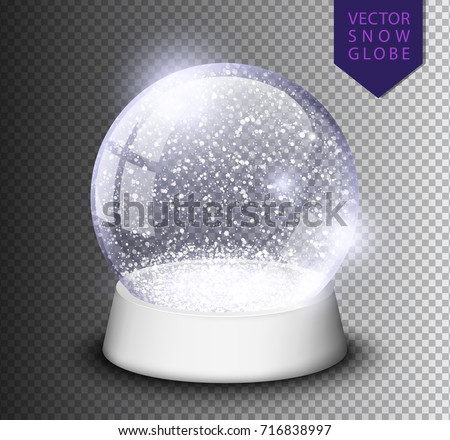 Snow globe empty template isolated on transparent background. Christmas magic ball. Realistic Xmas snowglobe vector illustration. Winter in glass ball, crystal dome icon snowflake and white stand.