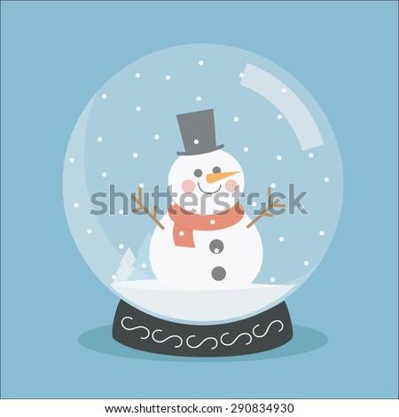 Snow globe flat. Christmas snow globe. Vector snow globe isolated. Spherical New Year snow globe.  Merry Christmas glass ball with a snowman.  - stock vector