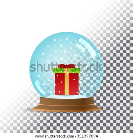 Snow globe. Transparent background. Vector illustration. EPS10 - stock vector
