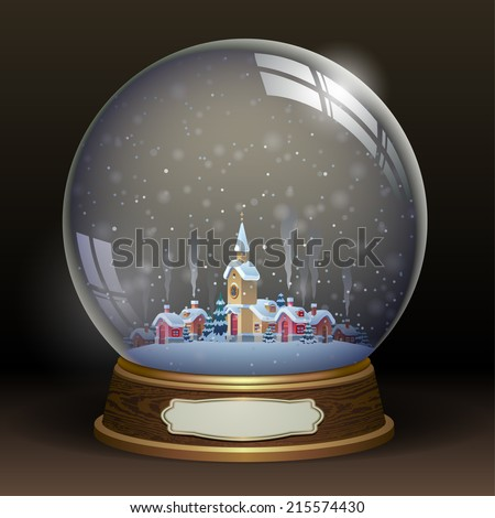 Snow globe with a town - stock vector