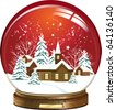 Snow globe with a town. All elements and textures are individual objects. Vector illustration scale to any size. - stock vector