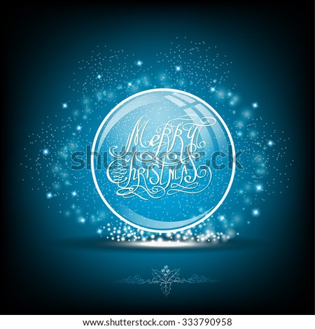 Snow globe with calligraphic merry christmas on blue background - stock vector